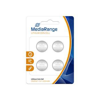 MediaRange Premium baterie Coin Cells, CR2032 3V Lithium 4pck/BAL