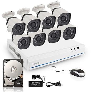 ZMODO 720P sPoE NVR kit 8CH kamerový systém, 1TB HDD, recorder + 8x IP kamera