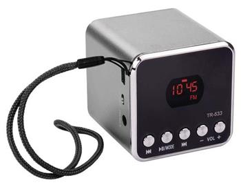 emGo TR533B soundbox - rádio, MP3, USB, microSD přehrávač, Bluetooth, šedá