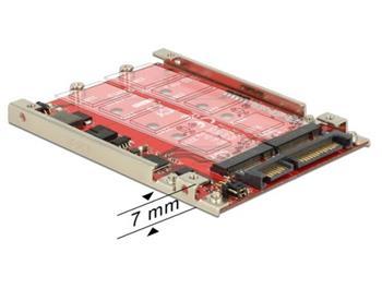 """Delock 2.5"""" Adaptér SATA 22 pin > 2 x M.2 NGFF s RAID 7 mm"""