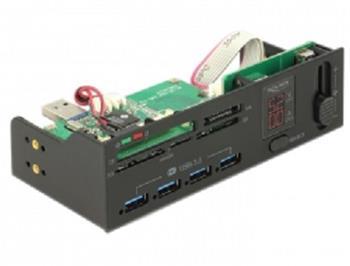 """Delock 5.25"""" USB 3.0 čtečka karet s 5 sloty + 4 portový USB 3.0 Hub včetně V / A zobrazení a ovládání ventilátoru"""