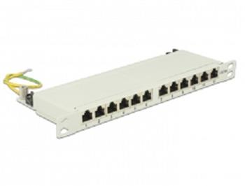 "Delock 10"" Patch Panel 12 Portů Cat.6A 0.5 U šedý"