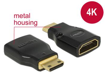 Delock Adaptér High Speed HDMI s Ethernetem – HDMI Mini-C samec > HDMI-A samice 4K černý
