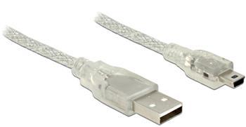 Delock Kabel USB 2.0 Typ-A samec > USB 2.0 Mini-B samec 1m transparentní