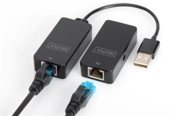 DIGITUS USB Extender, USB 2.0, pro použití s Cat5 / 5e / 6 (UTP, STP nebo SFT) kabelu až 50 m / 164 stop