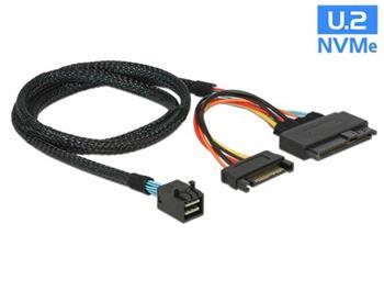 Delock Kabel SFF-8643 samec > U.2 SFF-8639 samec + napájecí konektor SATA 75 cm