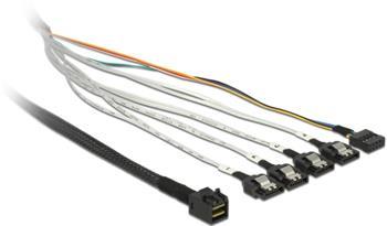 Delock kabel mini SAS HD SFF-8643 > 4 x SATA 7 pin + Sideband 0.5 m kovová spona