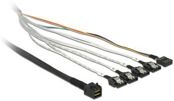 Delock kabel mini SAS HD SFF-8643 > 4 x SATA 7 pin + Sideband 1 m kovová spona