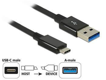 Delock Kabel SuperSpeed USB 10 Gbps (USB 3.1 Gen 2) USB Type-C™ samec > USB Typ-A samec 1 m koaxiál černý Premium