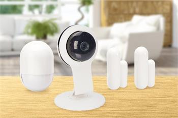 ednet.smart home Startovací bezpečnostní kit obsahující 1x HD720p vnitřní kamera, 1x pohybový senzor a 2x dotykové senzory, bílá