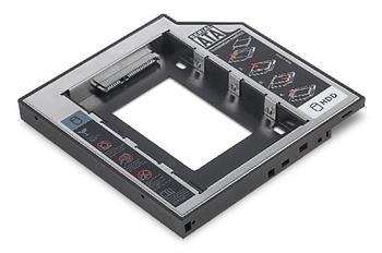 Digitus Instalační rámeček SSD/HDD pro slot pro jednotky CD/DVD/Blu-ray, SATA až SATA III, instalační výška 12,7 mm