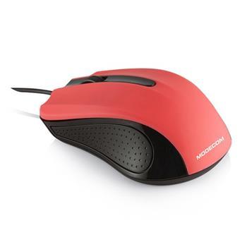 Modecom MC-M9 drátová optická myš, 3 tlačítka, 1000 DPI, USB, černá/červená