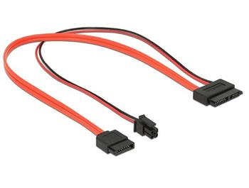 Delock Cable SATA 6 Gb/s 7 pin receptacle + 4 pin power plug > Slim SATA 13 pin receptacle 30 cm