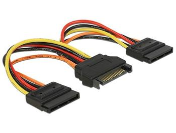 Delock Napájecí kabel SATA 15 pin samec > 2 x Power SATA 15 pin samice 15 cm