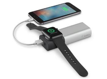 Belkin powerbanka 6700mAh pro Apple Watch + 1xUSB-A port pro iPhone, stříbrná
