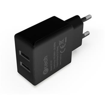 C-TECH Nabíječka USB UC-01, 2x USB, 2,1A, černá