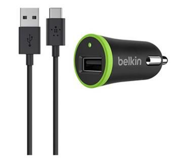 Belkin USB-C nabíječka do auta 2,1A/5V, + USB-A to USB-C kabel 1,2m - černá