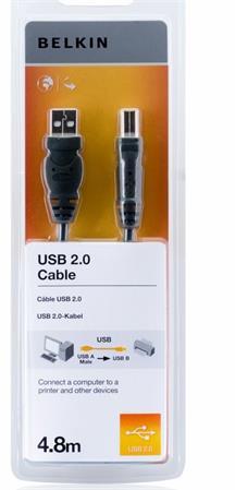 Belkin kabel USB 2.0. A/B řada standard, 4,8m