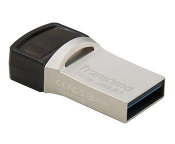 Transcend 32GB JetFlash 890, USB-C/USB 3.1 duální flash disk, malé rozměry, stříbrný kov, odolá prachu i vodě