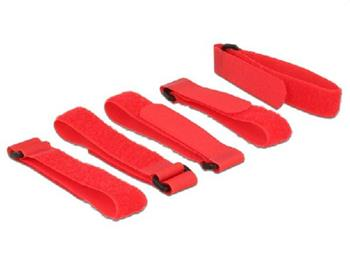 Delock Hook-and-loop fasteners L 300 mm x W 20 mm 5 pieces with loop red
