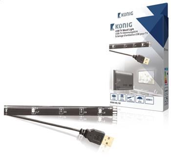 König KNM-ML1W - USB TV náladové osvětlení, LED pásek, 90cm, studená bílá