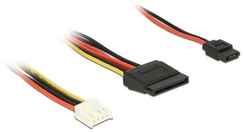 Delock Cable Power Floppy 4 pin power receptacle > SATA 15 pin receptacle (5 V + 12 V) + Slim SATA 6 pin receptacle (5