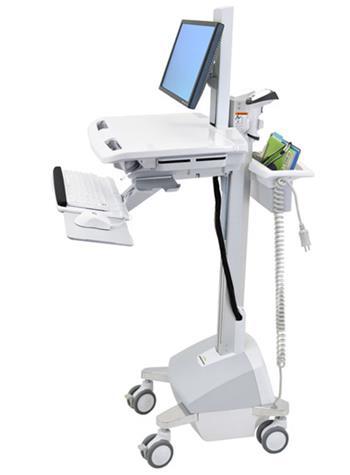 ERGOTRON StyleView® Cart with LCD Pivot, LiFe Powered, pojízdný vozík s napájením, držák pro LCD, klávesnice, scanner