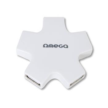 OMEGA USB 2.0 HUB 4 PORT hvězda bílý