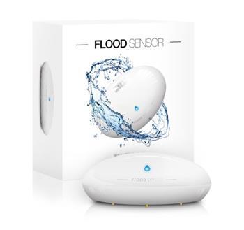 FIBARO senzor zaplavení/ teploty, bílý, externí kontakty, Z-Wave, 12/24 VDC nebo baterie