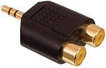 Valueline AC-010GOLD - Stereo Audio adaptér 3.5mm zástrčka - 2x CINCH zásuvka, černá