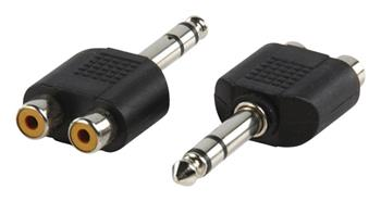 Valueline AC-011 - Stereo Audio adaptér 6.35mm zástrčka - 2x CINCH zásuvka, černá