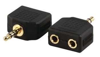 Valueline AC-012GOLD - Stereo Audio adaptér 3.5mm zástrčka - 2x 3.5mm zásuvka, černá