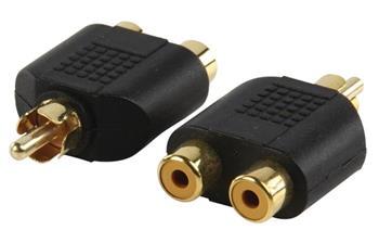 Valueline AC-016GOLD - Mono Audio adaptér CINCH zástrčka - 2x CINCH zásuvka, černá
