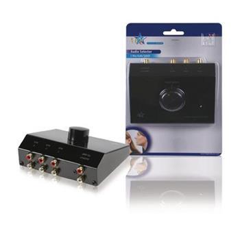 HQ ASWITCH-3 - Analogový Audio Přepínač 3x (2x RCA zásuvka) - 2x RCA zásuvka, černá