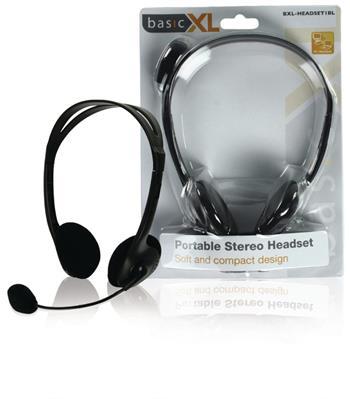 basicXL BXL-HEADSET1BL - Headset Na Uši 2x 3.5 mm Vestavěný Mikrofon, černá