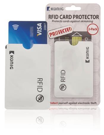 König CSRFIDCVR100 - RFID ochranné pouzdro bezkontaktních karet, hliník, stříbrná, 2 kusy