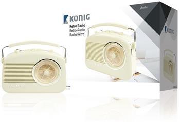 König HAV-TR710BE - Přenosné FM rádio FM / AM Slonová Kost