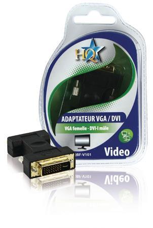 HQ HQBF-V101 - adaptér DVI DVI-I 24+5p zástrčka - VGA zásuvka, černá