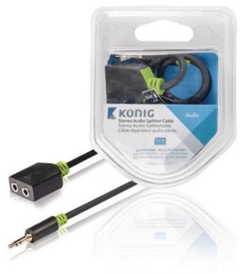 König KNA22100E02 - Stereo Audio Kabel 3.5mm zástrčka - 2x 3.5mm zásuvka 0.20 m Antracit