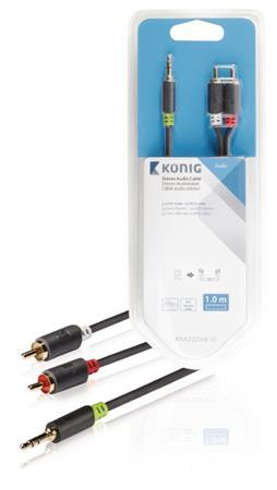 König KNA22200E10 - Stereo Audio Kabel 3.5mm zástrčka - 2x CINCH zástrčka 1.00 m Antracit