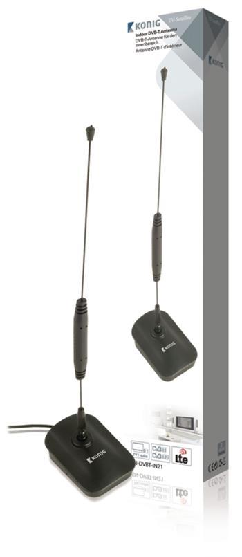 König KN-DVBT-IN21 - vnitřní DVB-T/T2 - DAB+ anténa 7 dB FM / VHF / UHF