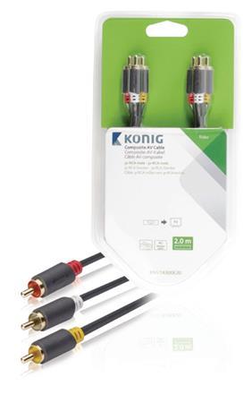 König KNV24300E20 - Komponentní Video Kabel 3x CINCH zástrčka - 3x CINCH zástrčka 2.00 m Antracit