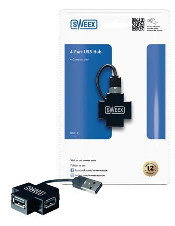 Sweex US012 - 4 Porty Rozbočovač USB 2.0, černá