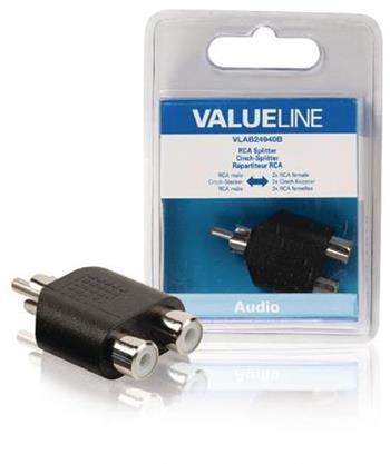Valueline VLAB24940B - Mono Audio adaptér CINCH zástrčka - 2x CINCH zásuvka, černá