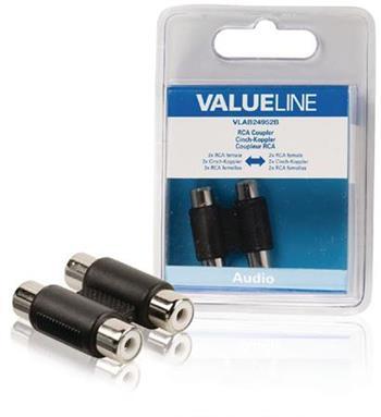 Valueline VLAB24952B - Stereo Audio adaptér 2x CINCH zásuvka - 2x CINCH zásuvka, černá