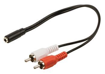 Valueline VLAP22255B02 - Stereo Audio Kabel 2x CINCH zástrčka - 3.5mm zásuvka 0.20 m, černá
