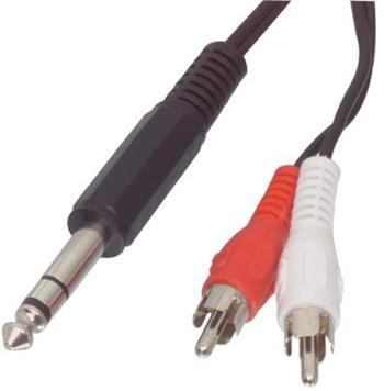 Valueline VLAP23300B20 - Stereo Audio Kabel 6.35mm zástrčka - 2x CINCH zástrčka 2.00 m, černá