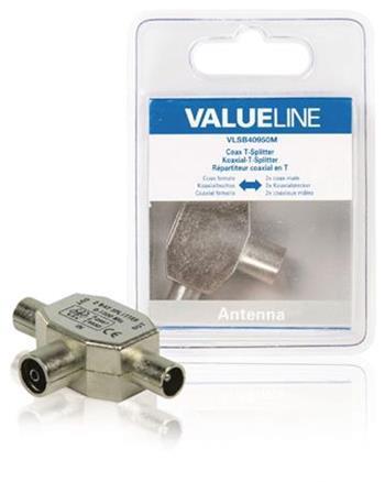 Valueline VLSB40950M - Koaxiální adaptér Koax zásuvka - 2x Koax zástrčka Stříbrná