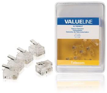 Valueline VLTB90923T - Telefonní Konektor RJ11 zástrčka PVC Transparentní, 5 ks