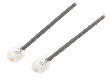Valueline VLTP90200B20 - Telefonní Kabel RJ11 (6P4C) zásuvka - RJ11 (6P4C) zásuvka Plochý 2.00 m, černá